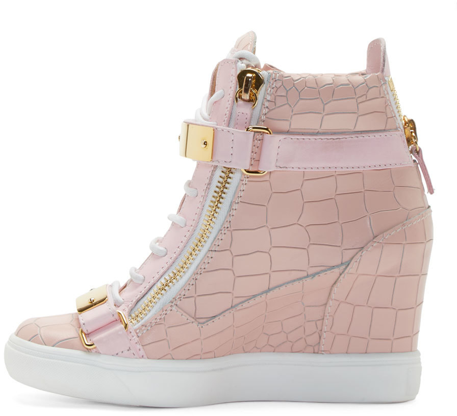 Giuseppe Zanotti Pink Lorenz High_top Wedge Sneakers in ...