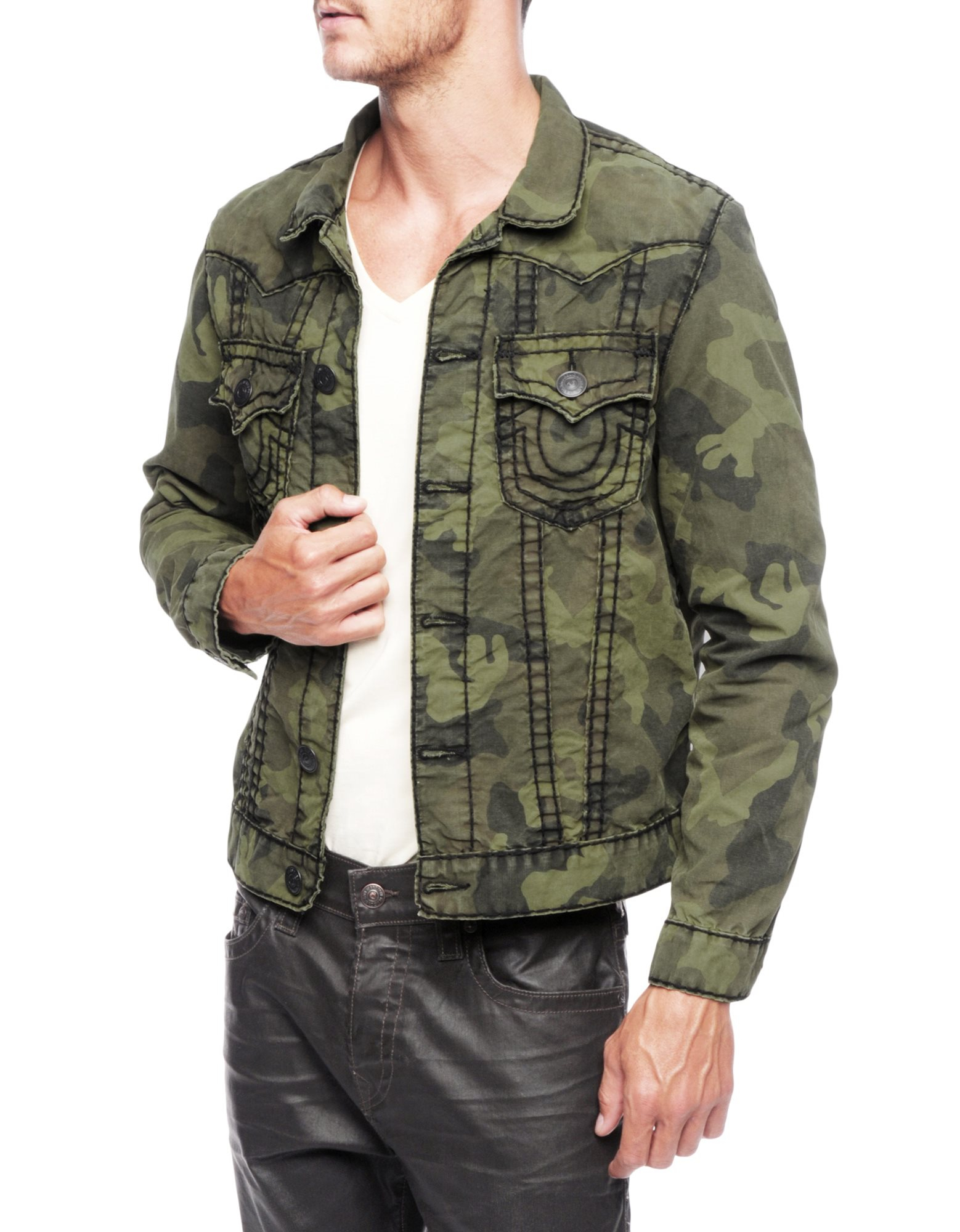 true religion jimmy olive green super t camo mens jacket in green for men lyst. Black Bedroom Furniture Sets. Home Design Ideas
