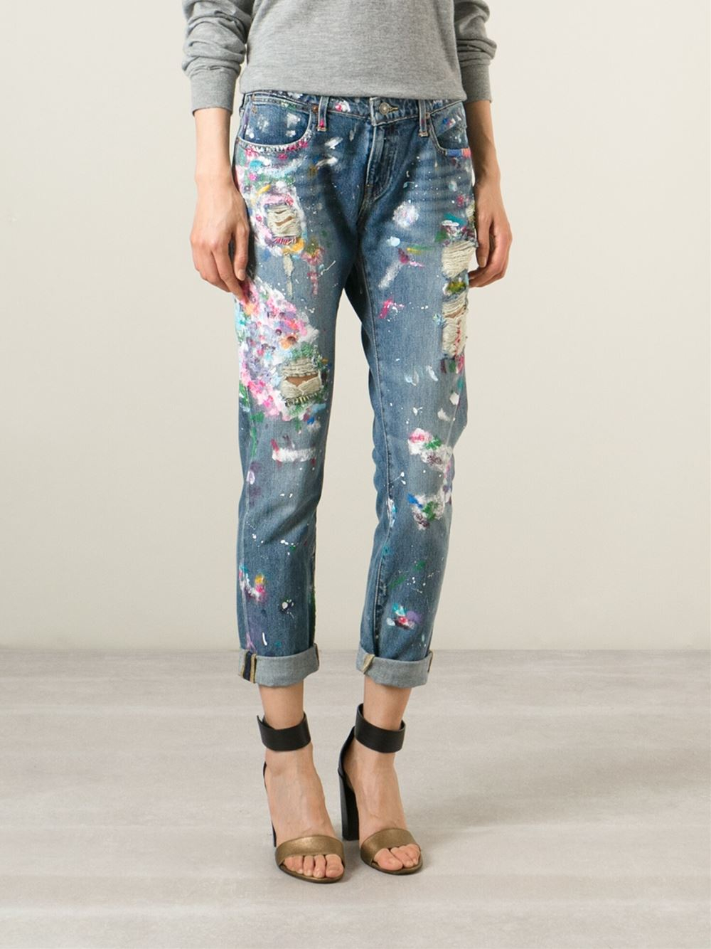 polo ralph lauren distressed paint splatter jeans in blue
