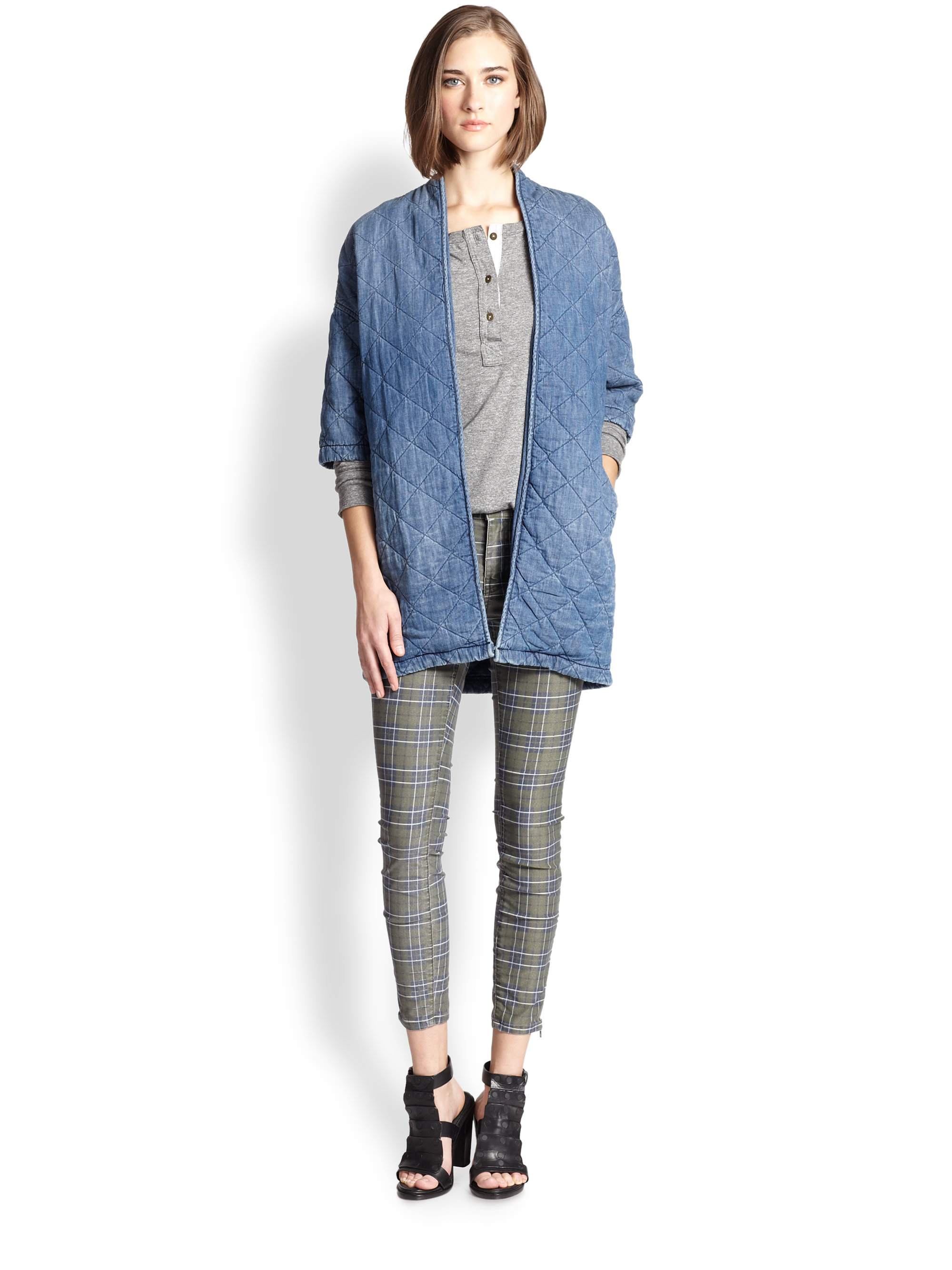 Lyst Current Elliott The Chamry Quilted Denim Jacket In Blue