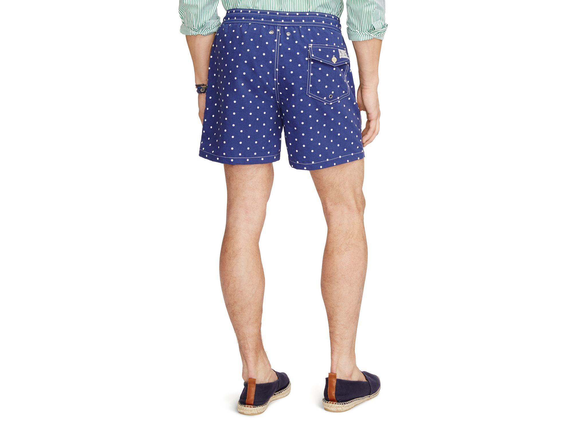 b06b74ab63 Ralph Lauren Polo Polka Dot Traveler Swim Shorts in Gray for Men - Lyst