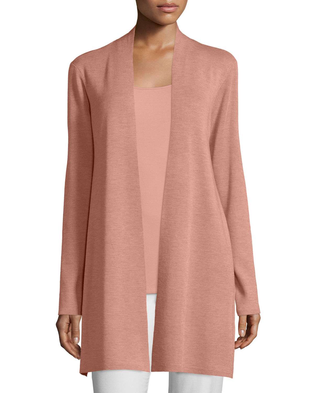 Eileen fisher Long Washable Merino Wool Cardigan in Pink | Lyst
