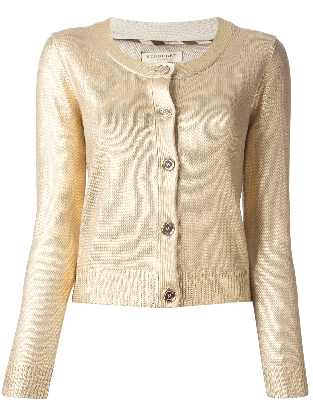 Burberry Round Neck Cardigan in Metallic | Lyst