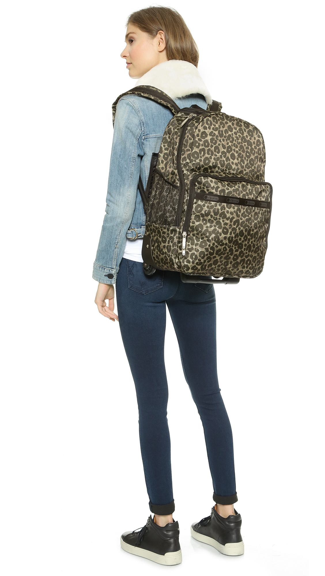 Lyst - Lesportsac Rolling Backpack - Army Cheetah in Green