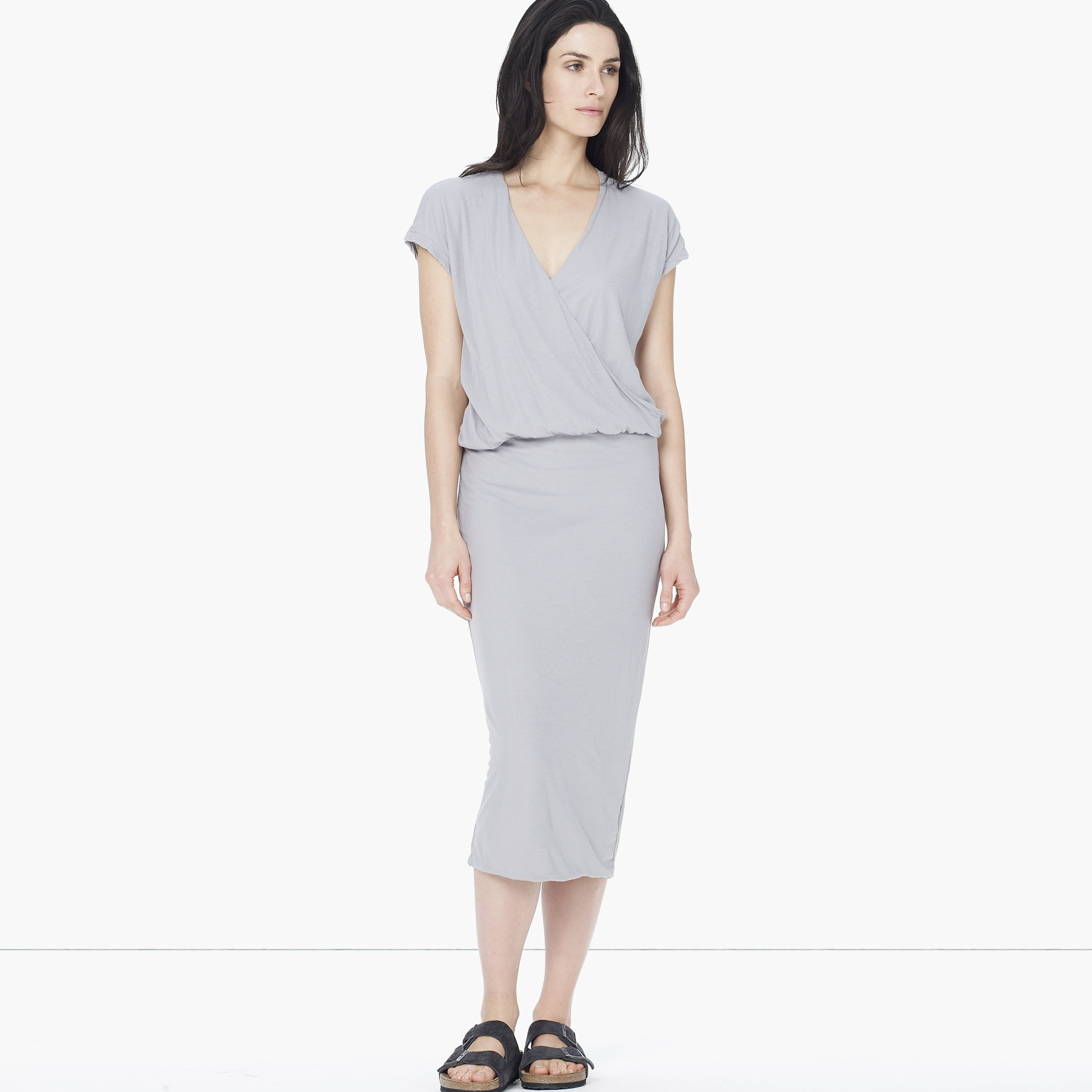 5820807b30b James Perse Cap Sleeve Wrap Dress in Gray - Lyst