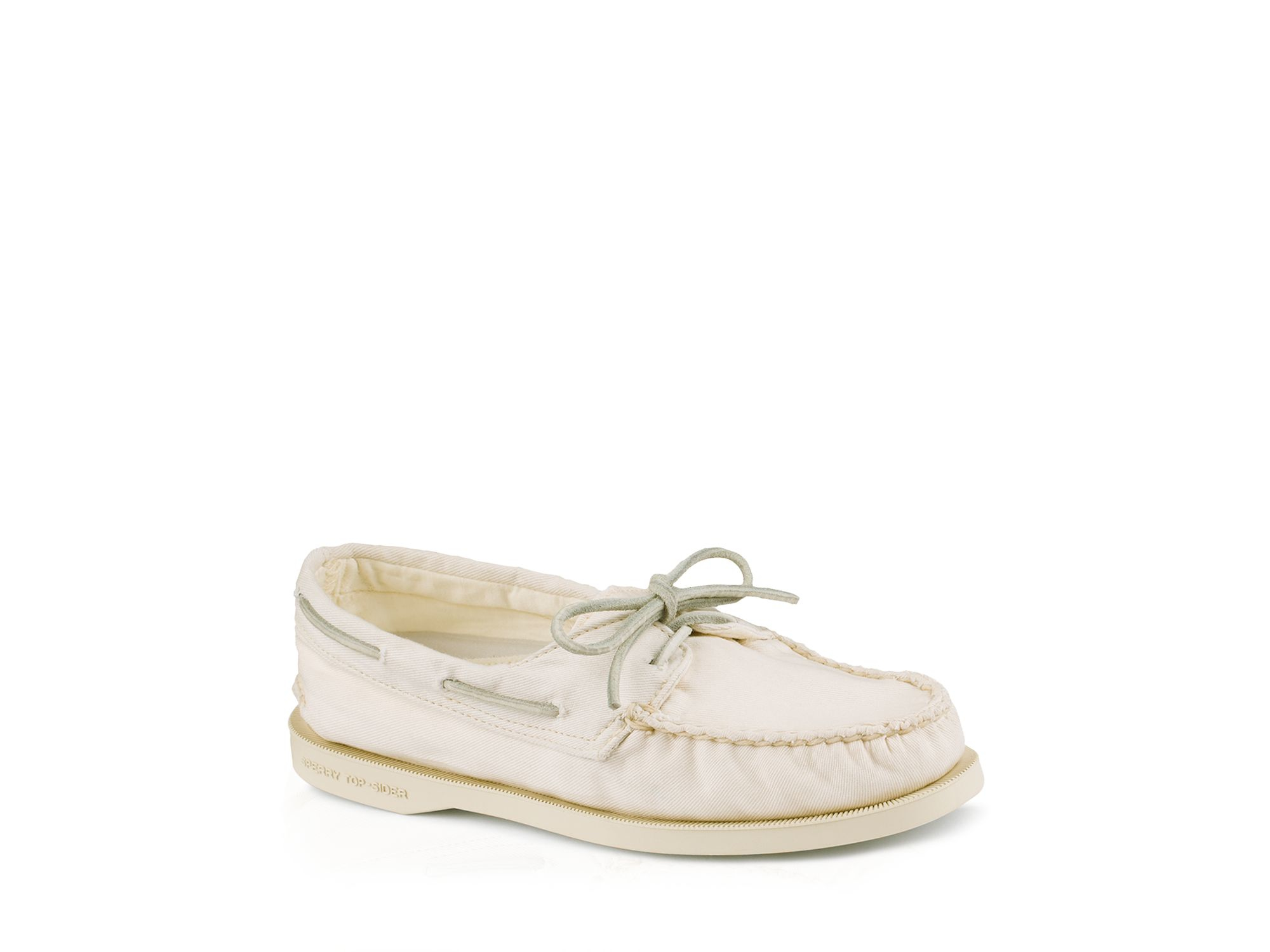 Sperry White Washed Canvas Sayel Boat Shoes