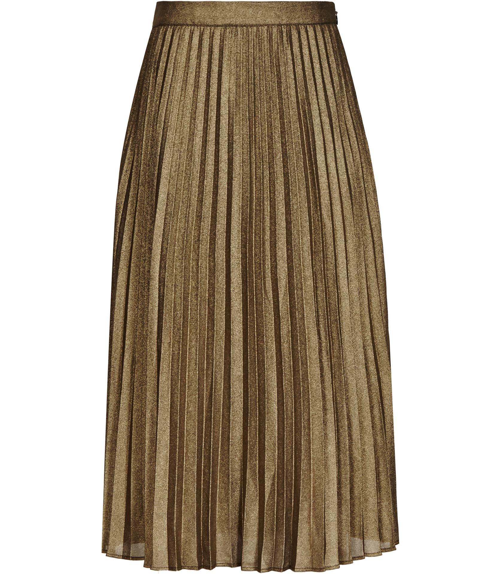 Reiss Kaeya Metallic Pleated Midi Skirt In Metallic Lyst