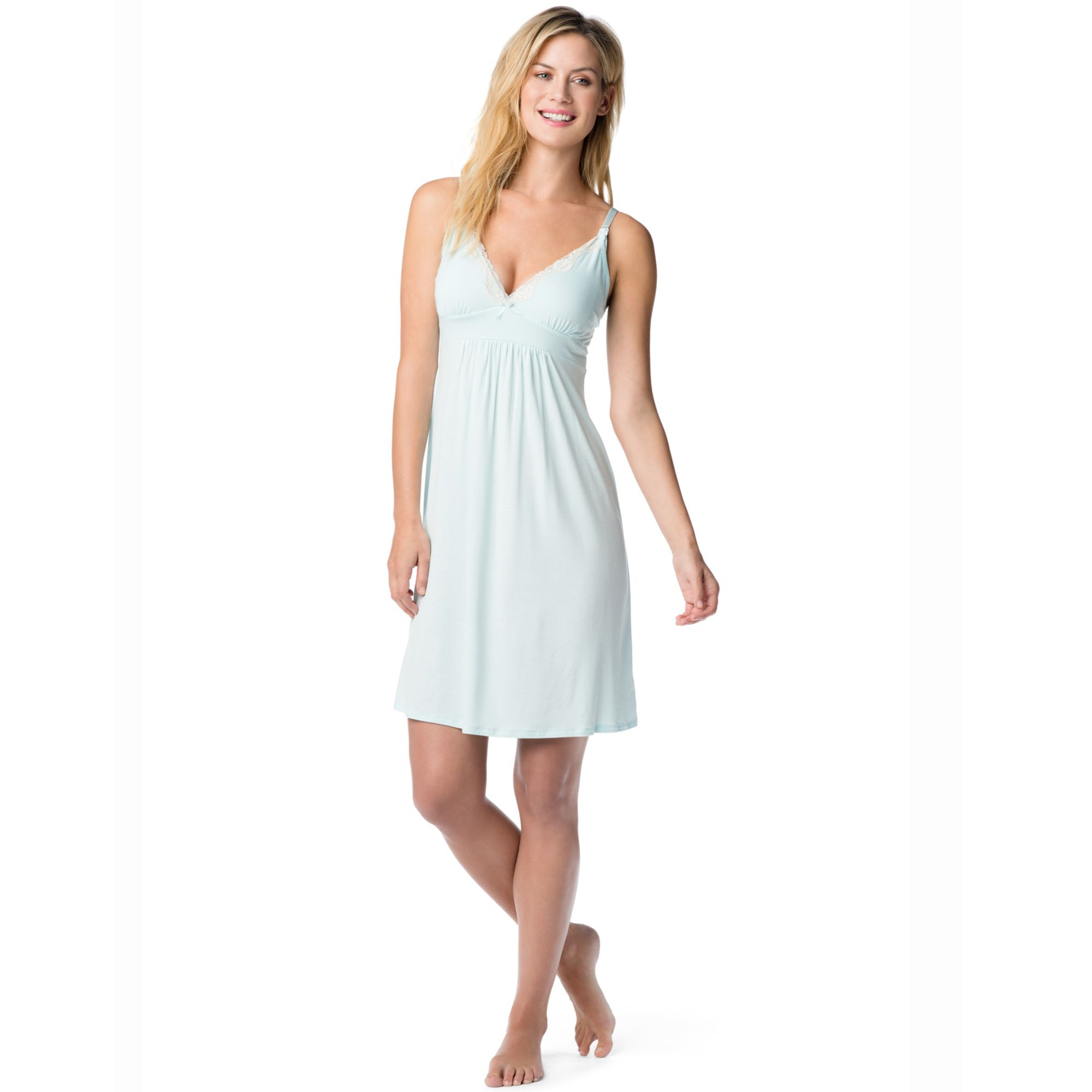 Lyst - Jessica Simpson Maternity Twopiece Nursing Nightgown Set in Blue
