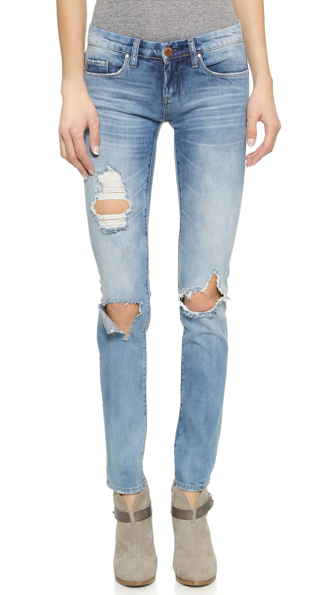 blank nyc distressed skinny jeans in blue lyst