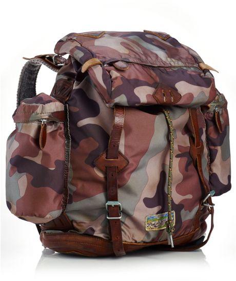 Ralph Lauren Polo Camo Nylon Backpack In Brown For Men