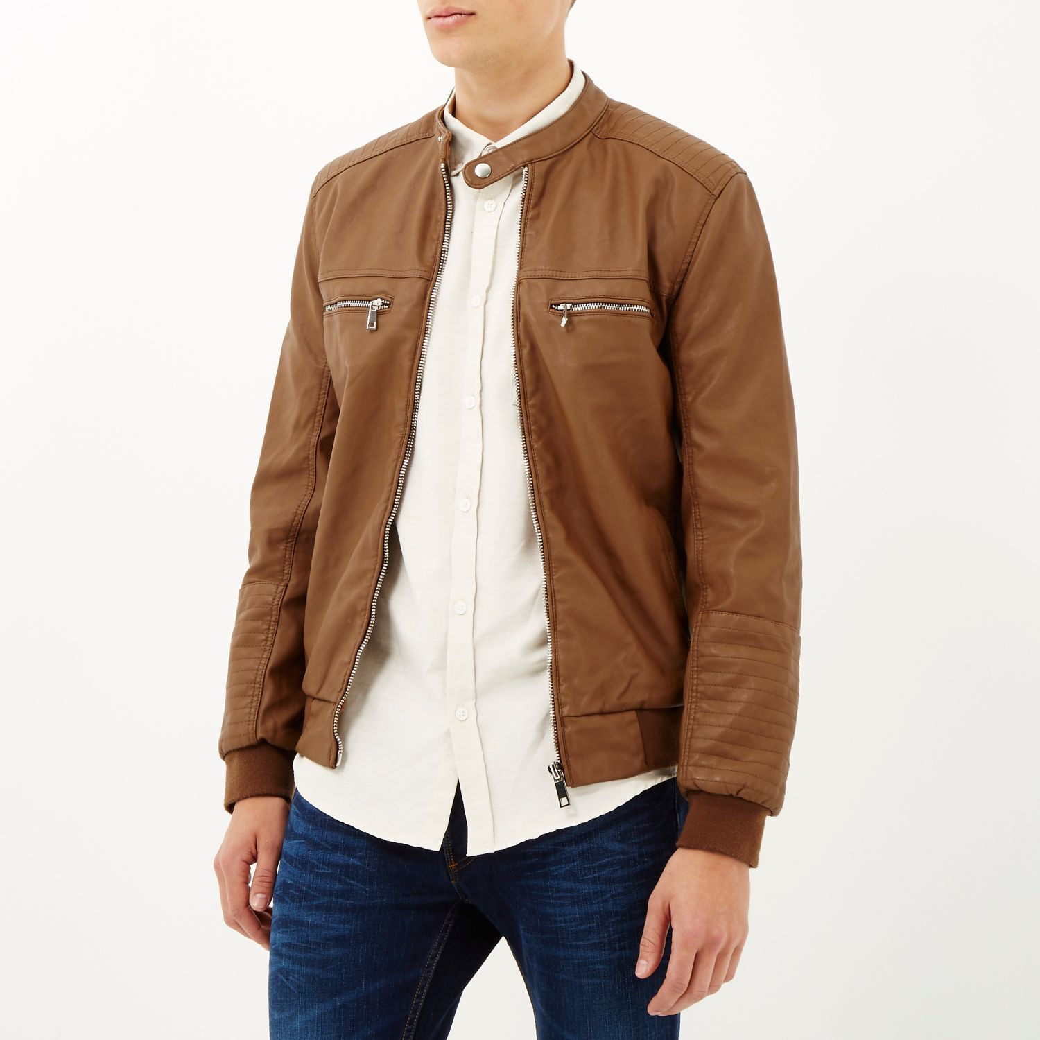 Lyst - River island Light Brown Leather-look Bomber Jacket in ...
