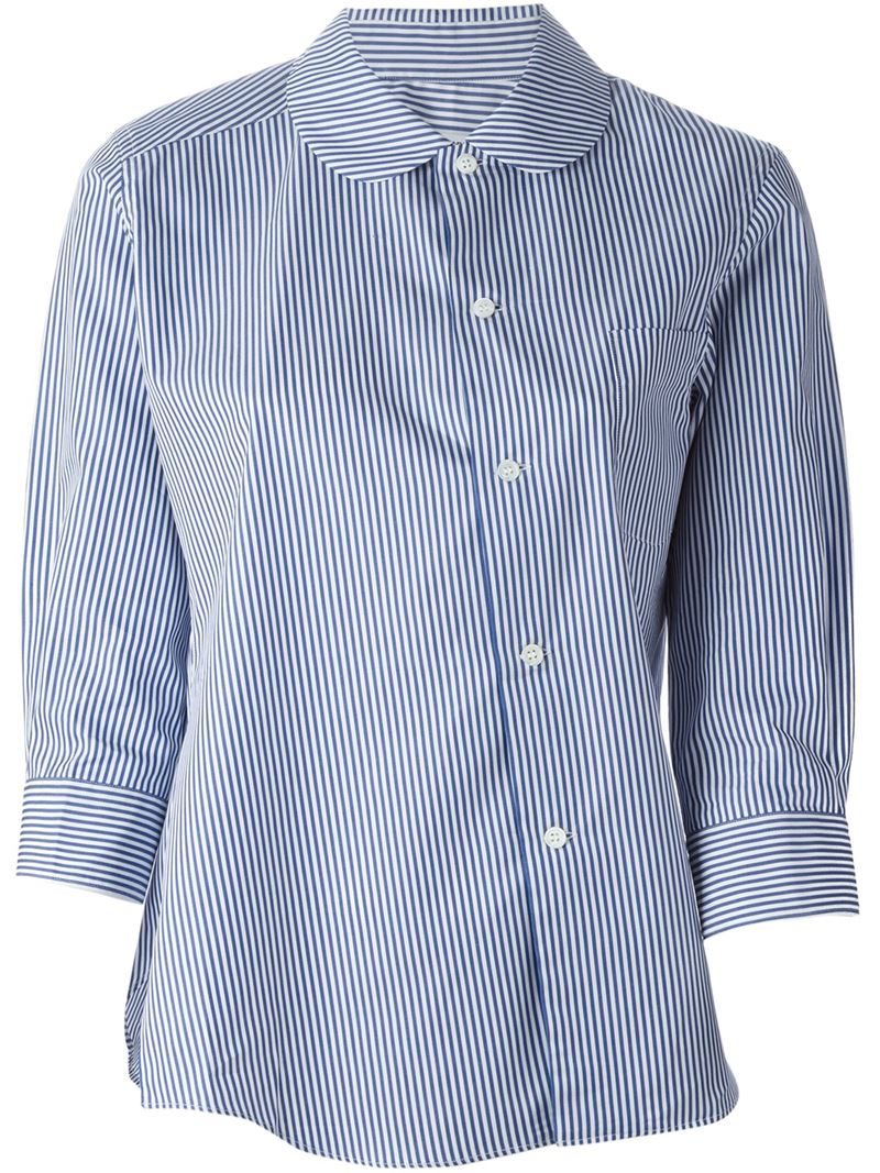 Lyst comme des gar ons striped peter pan collar shirt in for White cotton shirt peter pan collar
