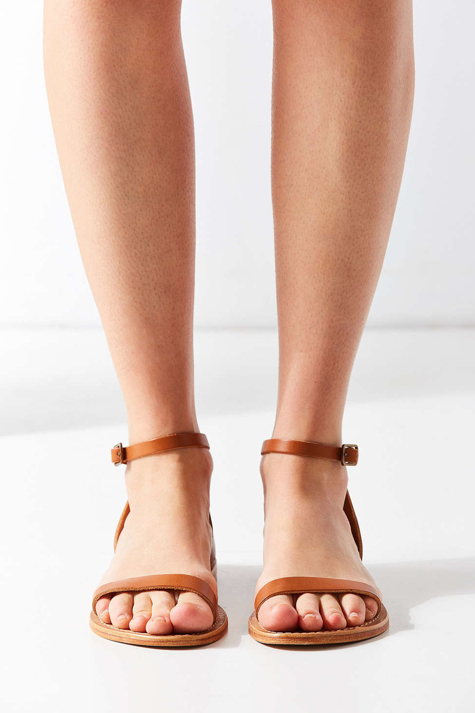 Urban Outfitters Hazel Leather Thin Strap Sandal In Brown