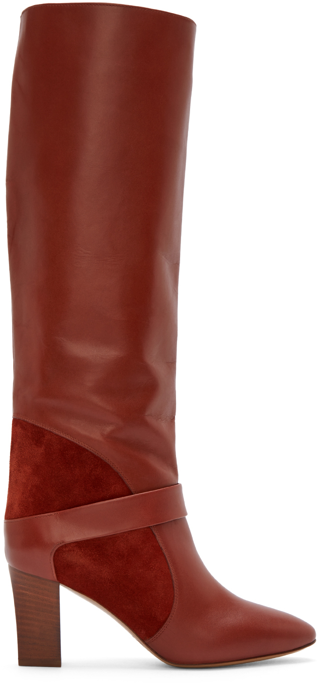 chole hand bags - Chlo�� Rust Leather And Suede Tall Boots in Brown (rust) | Lyst