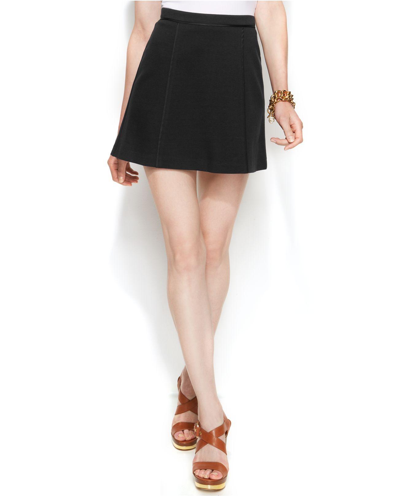 Michael kors Michael Petite Seamed A-Line Mini Skirt in Black | Lyst