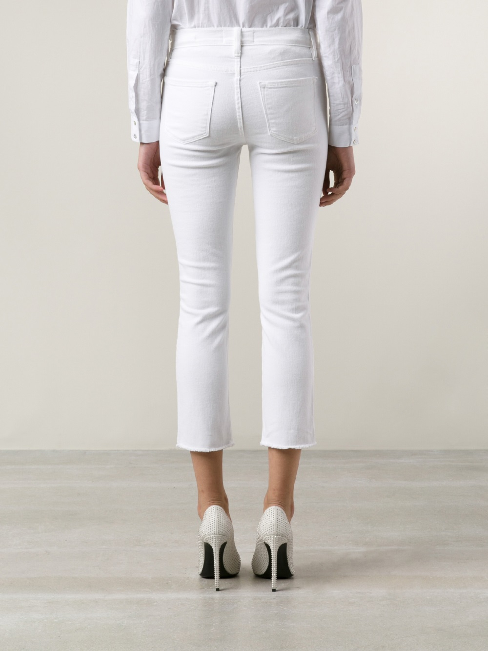 Frame Le High Skinny Jeans in White | Lyst