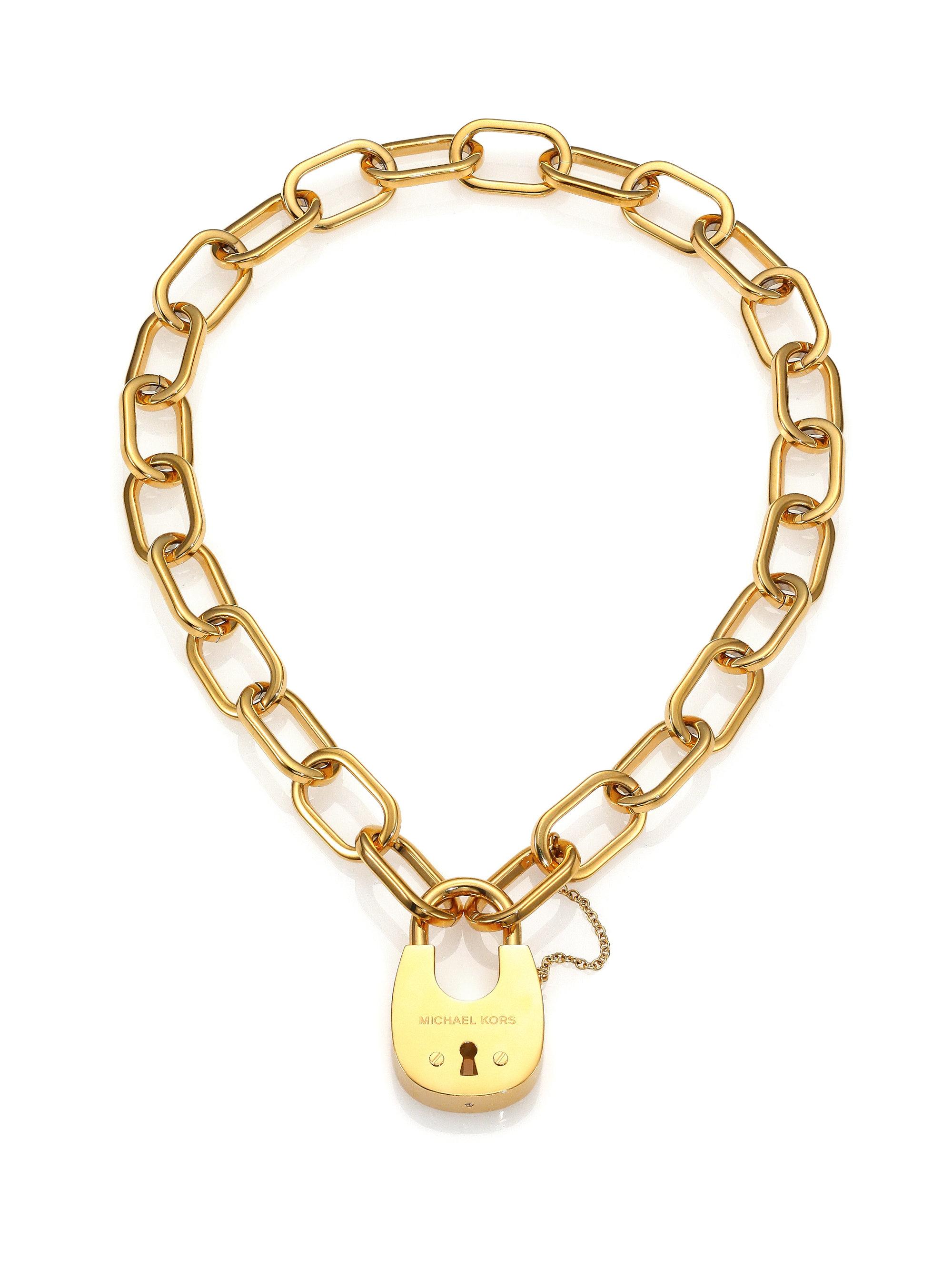 Michael Kors Cityscape Hardware Padlock Chain Necklace