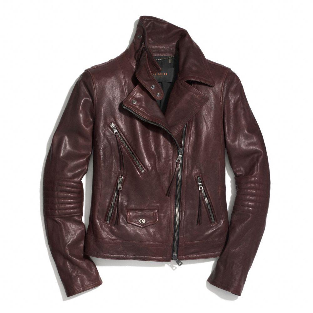 Lyst Coach Slim Leather Moto Jacket In Purple