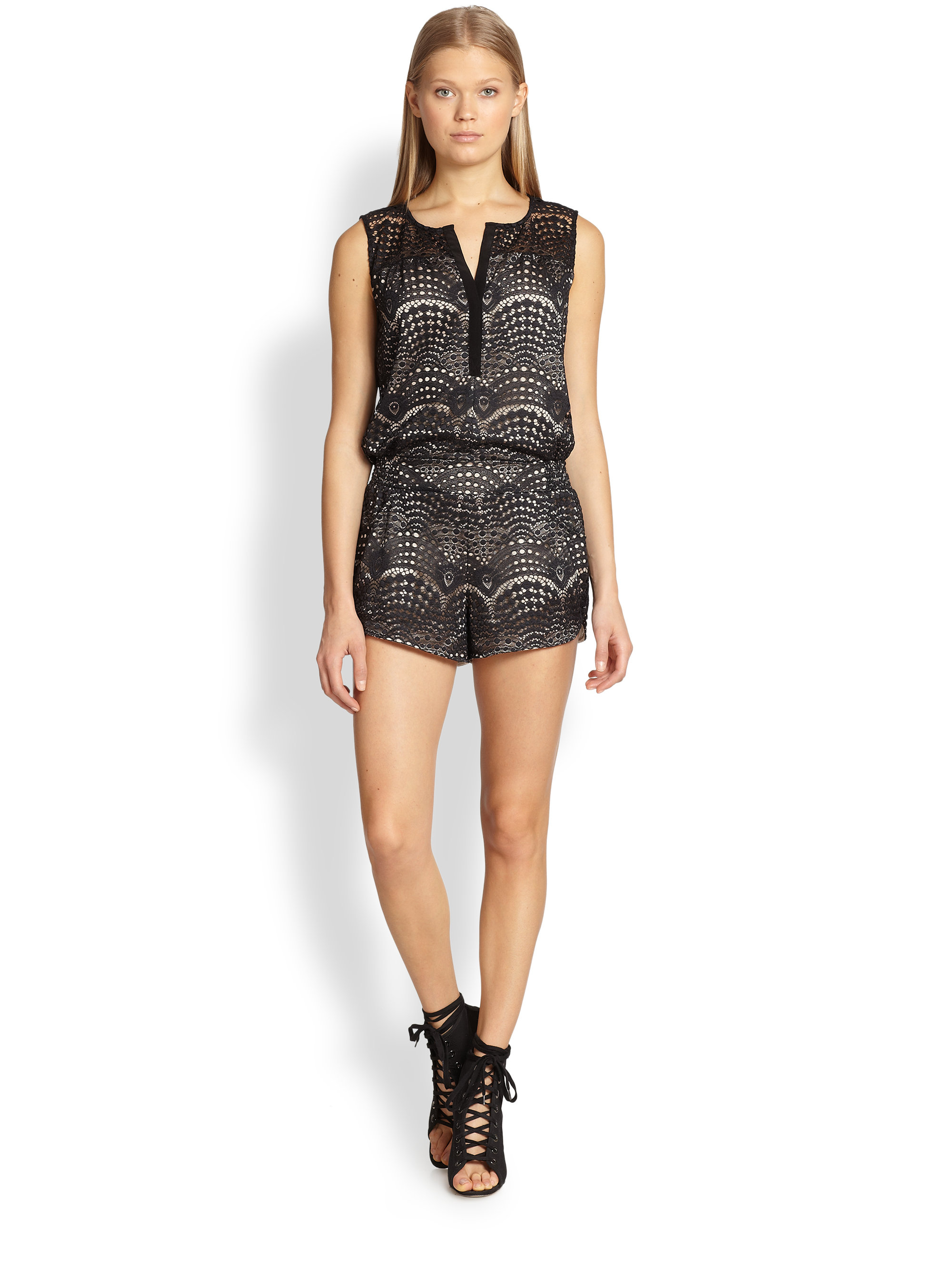 Lyst - Twelfth Street Cynthia Vincent Lace Short Jumpsuit In Black
