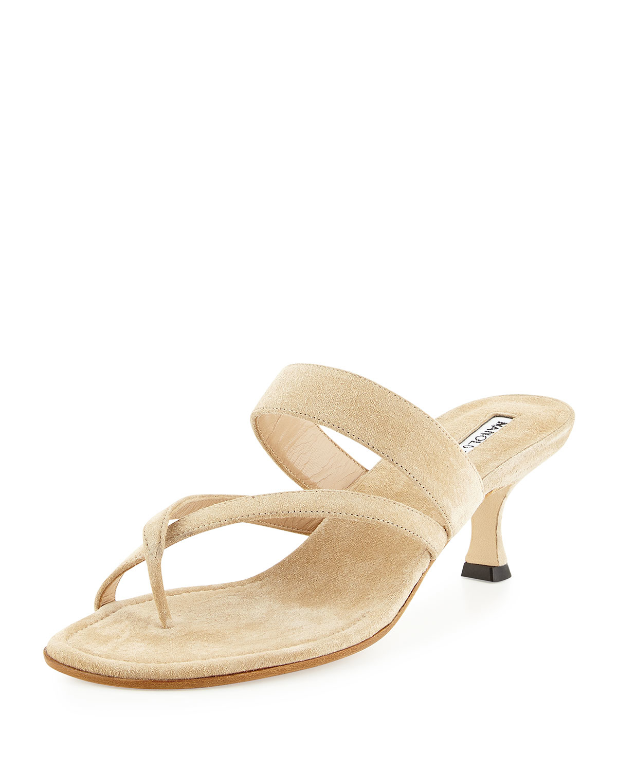00c2fe704a05 Lyst - Manolo Blahnik Susa Suede Sandal in Natural