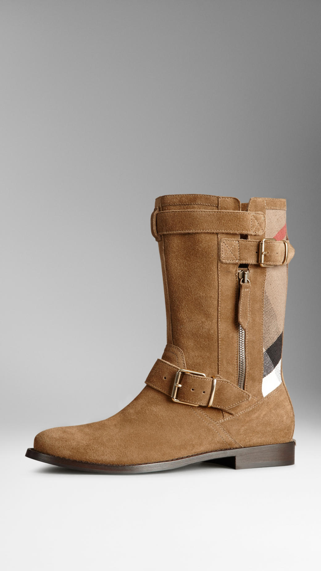 burberry check panel suede boots in brown light oak brown