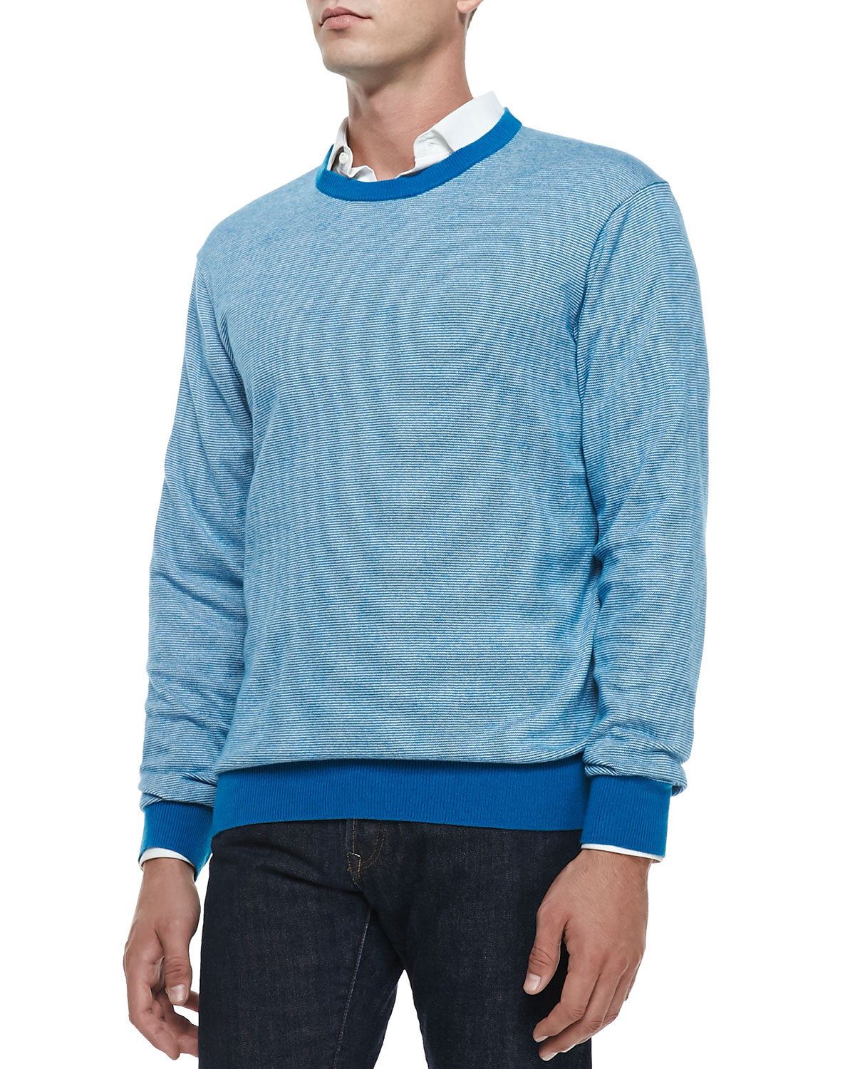 Neiman marcus Cotton/cashmere Striped Sweater in Blue for Men   Lyst