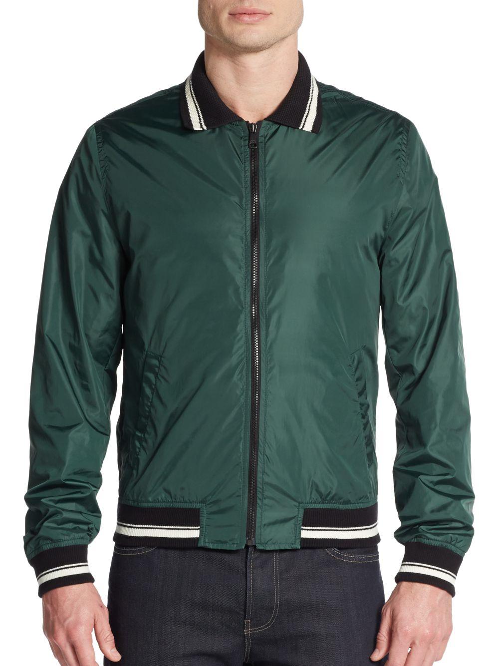 Dolce & gabbana Lightweight Nylon Varsity Jacket in Green for Men ...