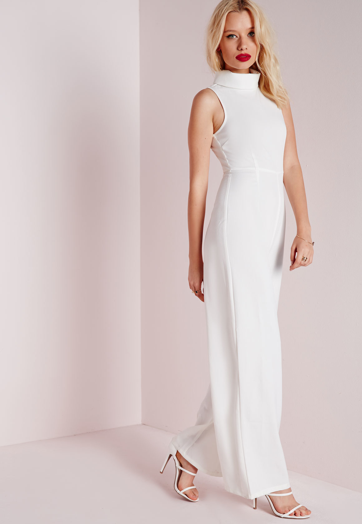 3042c739f6ac Lyst - Missguided High Neck Wide Leg Jumpsuit White in White