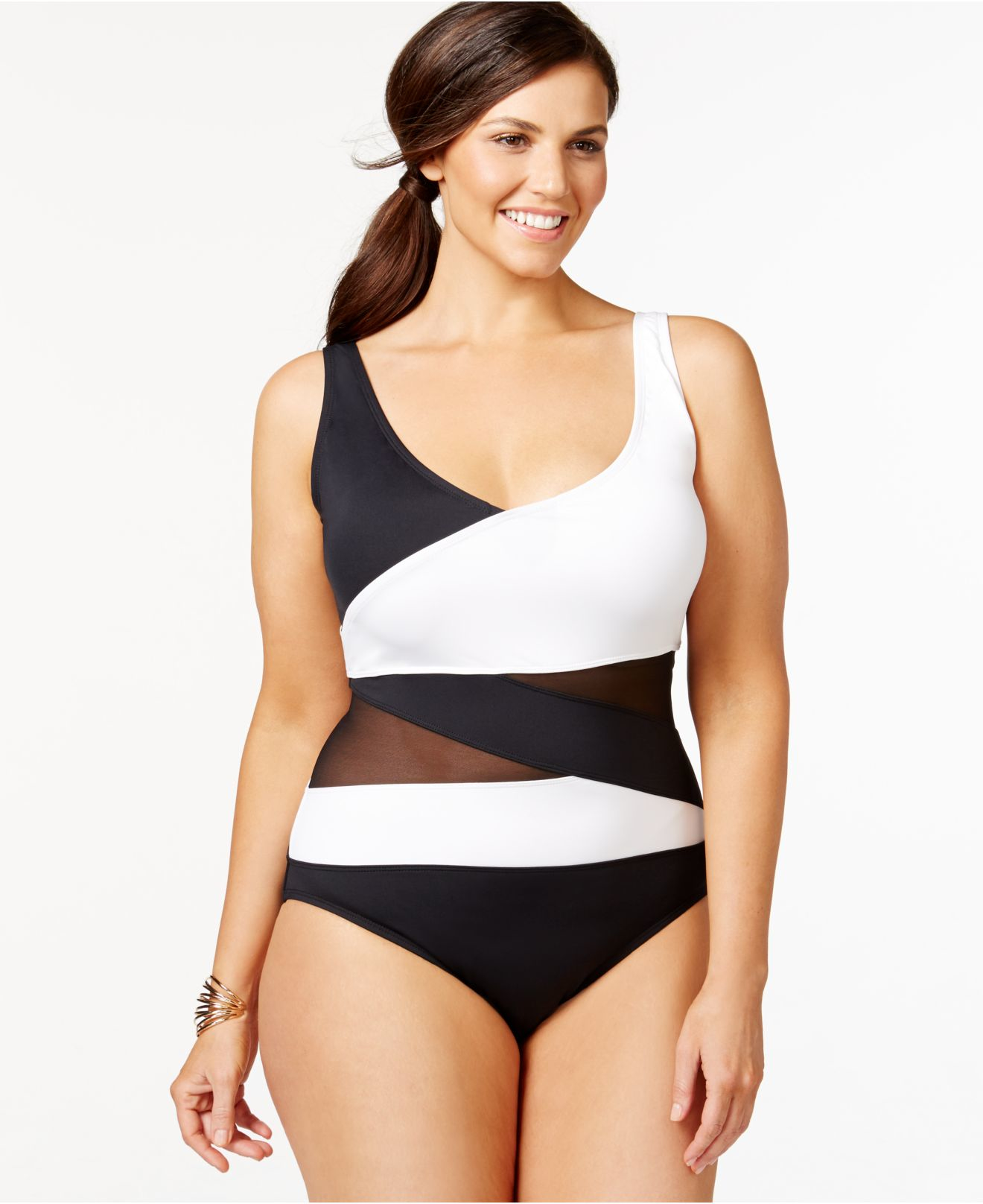 anne cole plus size mesh combo one-piece swimsuit in black | lyst