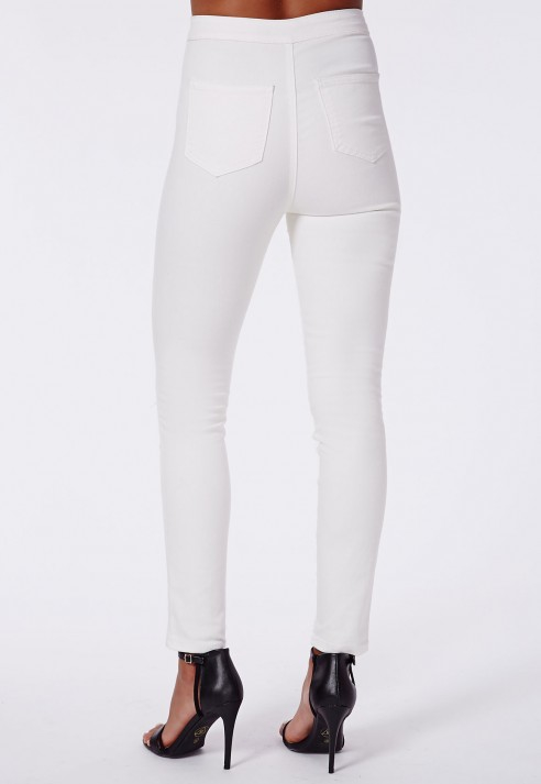 Missguided Brigitte High Waist Extreme Ripped Skinny Jeans White ...