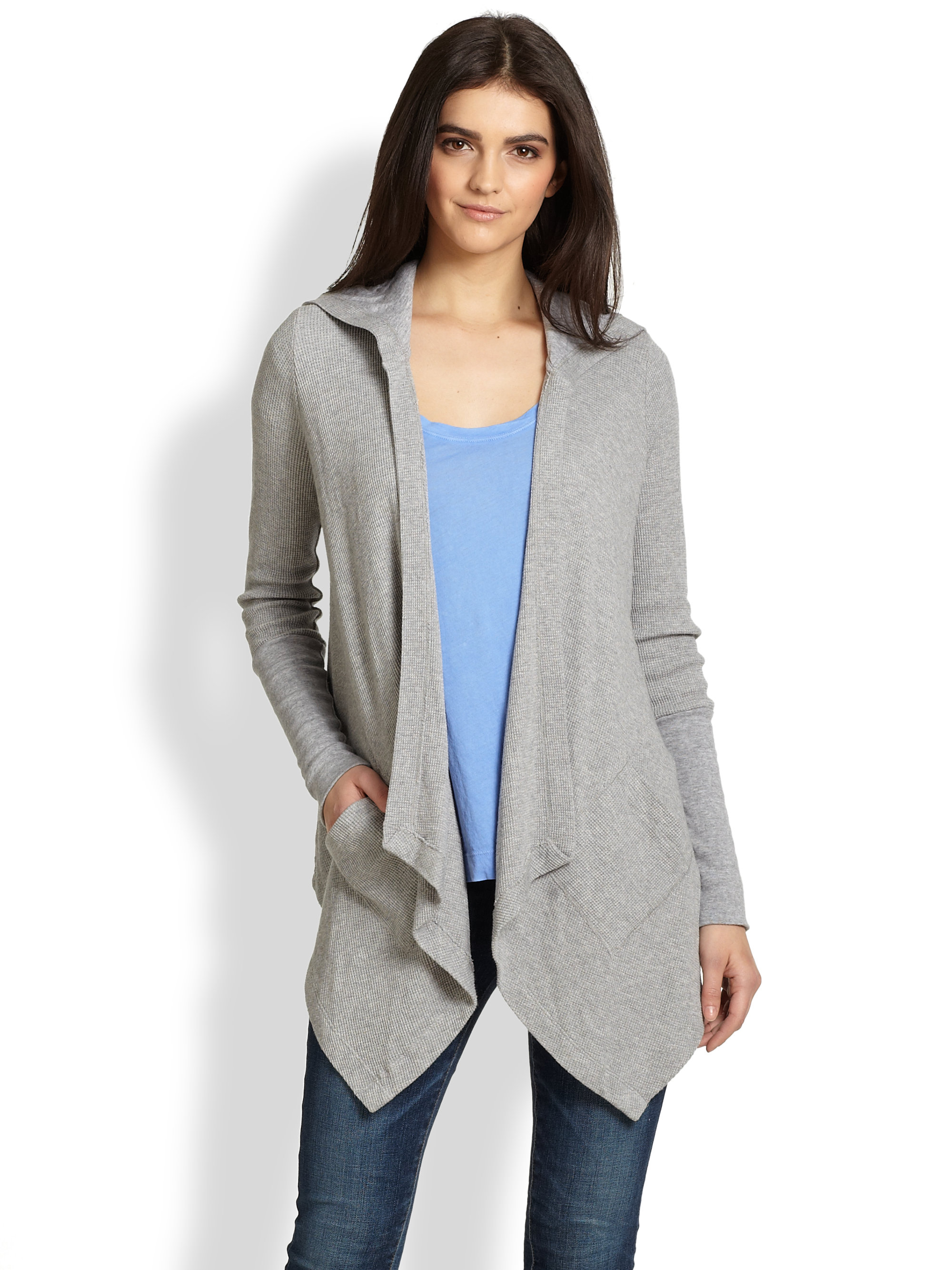 Splendid Draped Hooded Thermal Cardigan in Gray | Lyst
