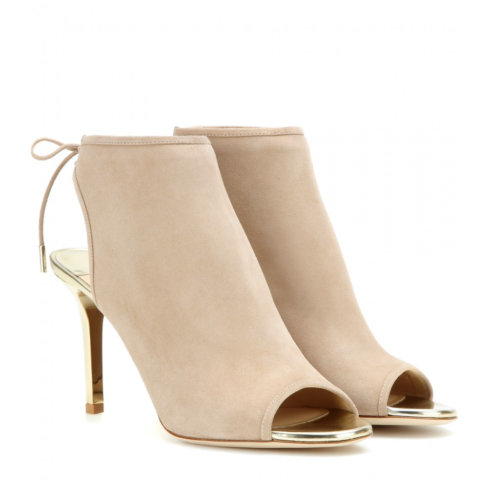 Lyst - Jimmy Choo Fortis Open-Toe Suede Ankle Boots in Natural