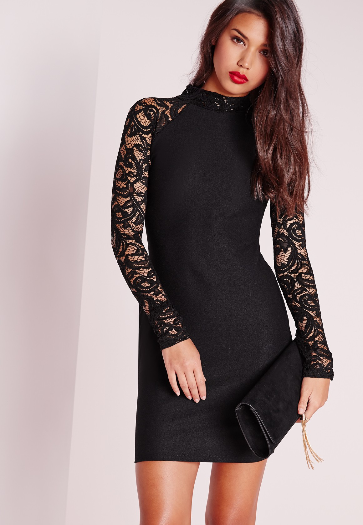 missguided lace long sleeve bodycon dress black in black