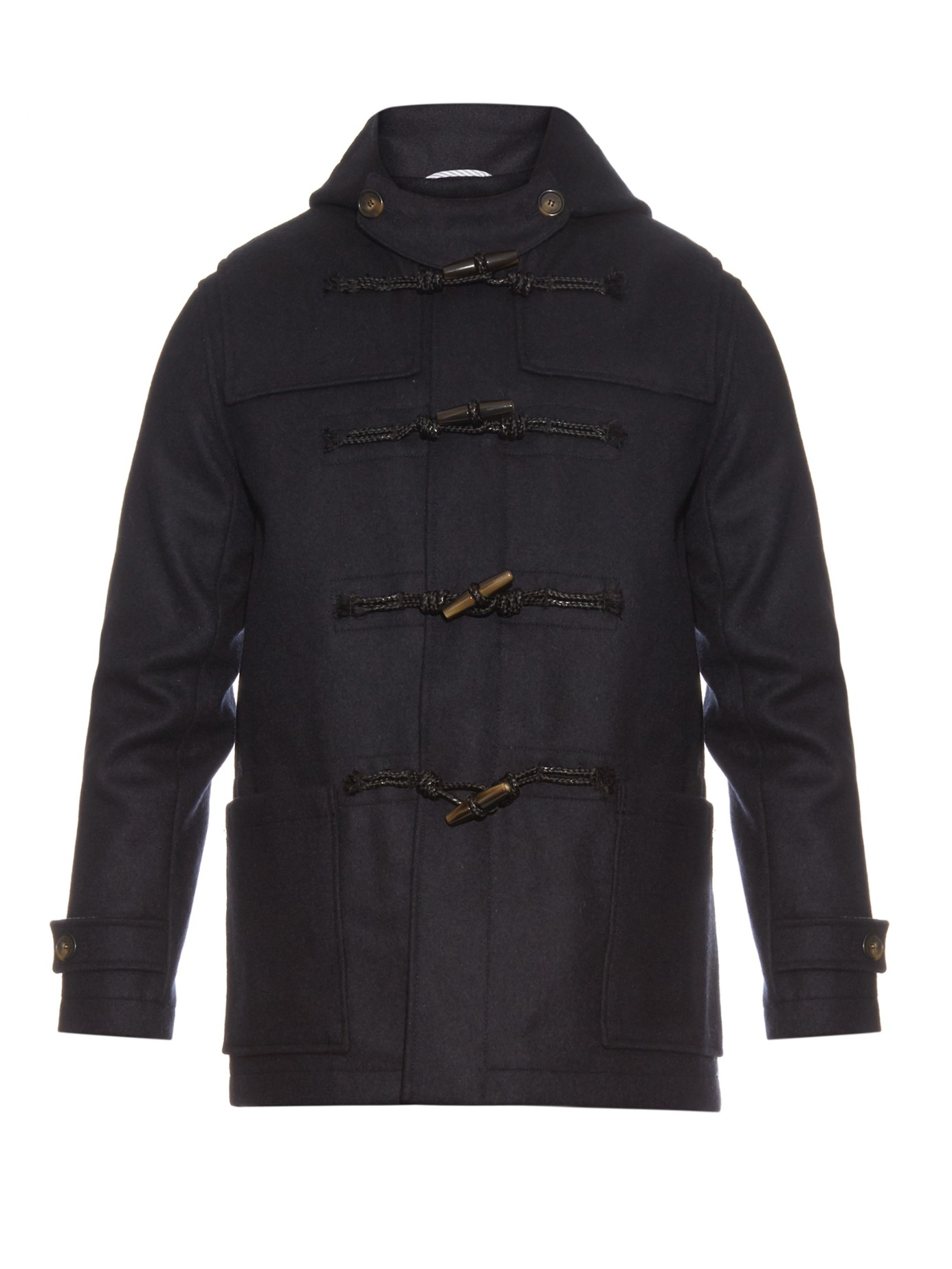 Maison kitsuné Wool Duffle Coat in Blue for Men | Lyst