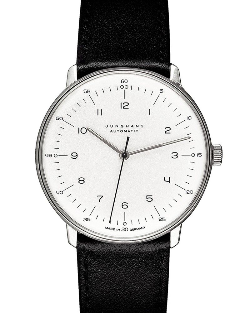 junghans max bill 38mm automatic numbers in white for men. Black Bedroom Furniture Sets. Home Design Ideas