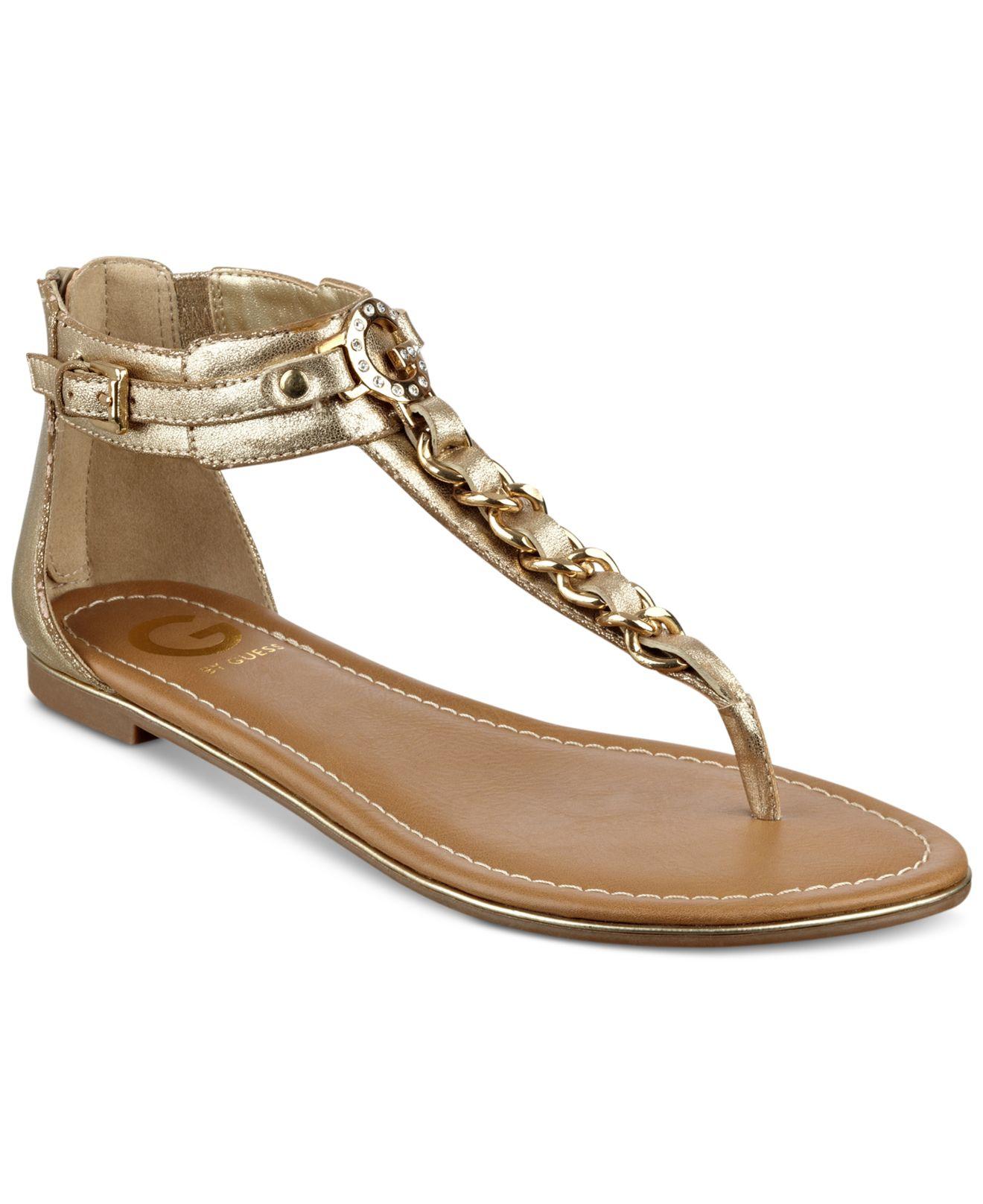 G By Guess Daniel T Strap Flat Sandals In Metallic Lyst