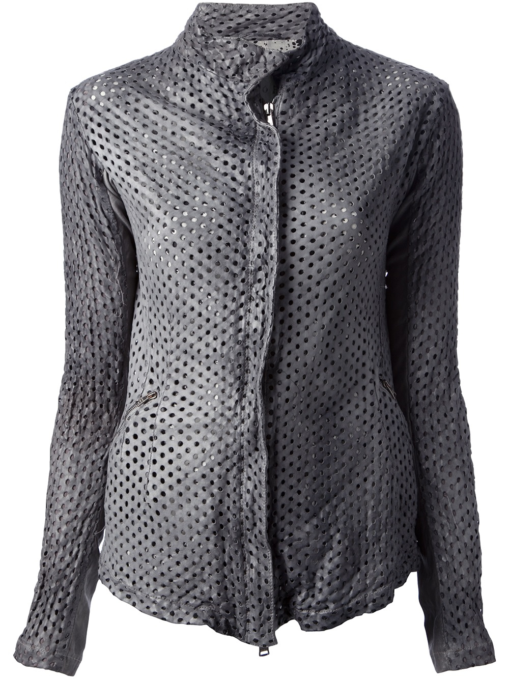 Giorgio brato Perforated Leather Jacket in Gray | Lyst