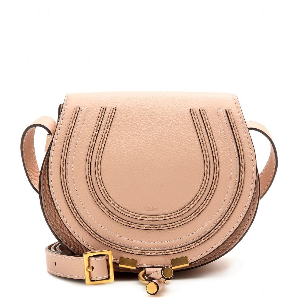 lyst chlo marcie leather shoulder bag in pink. Black Bedroom Furniture Sets. Home Design Ideas