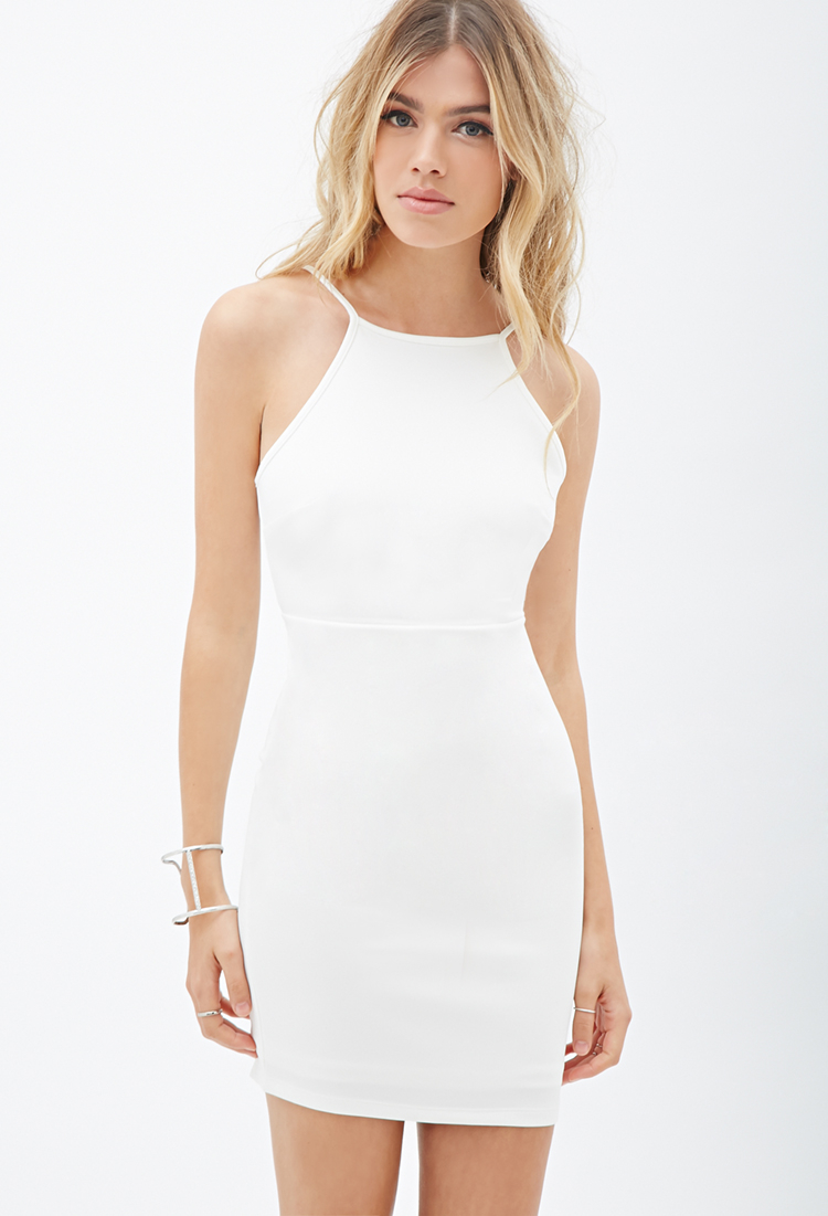 Forever 21 Cutout-back Bodycon Dress in White | Lyst