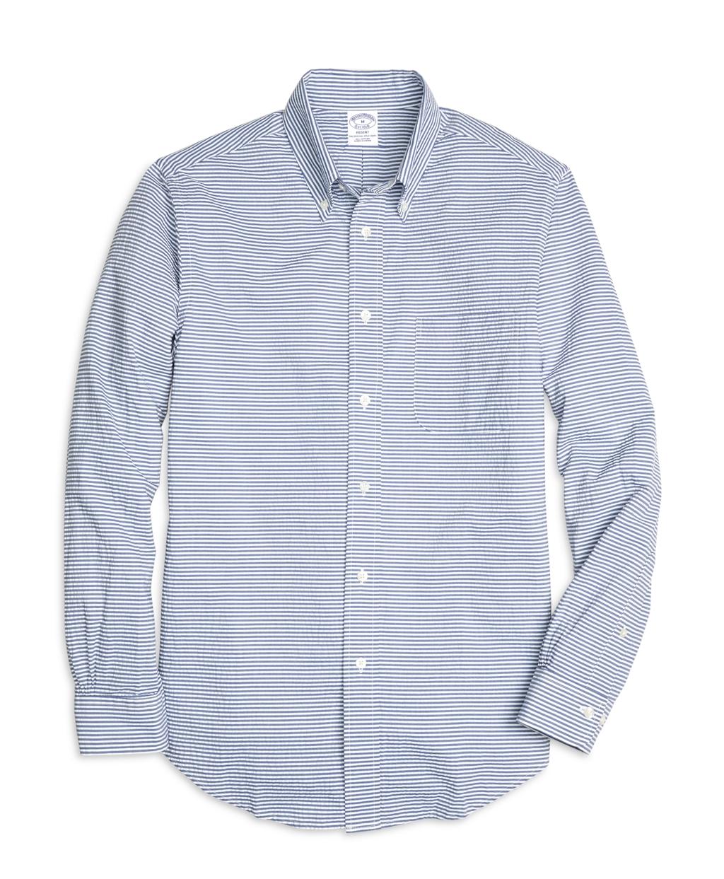 Brooks brothers madison fit horizontal stripe seersucker for Horizontal striped dress shirts men