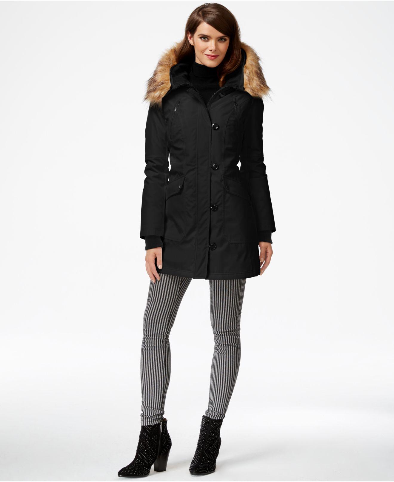 Lyst - Jessica Simpson Faux-fur-hood Parka in Black 4d0b14590d57