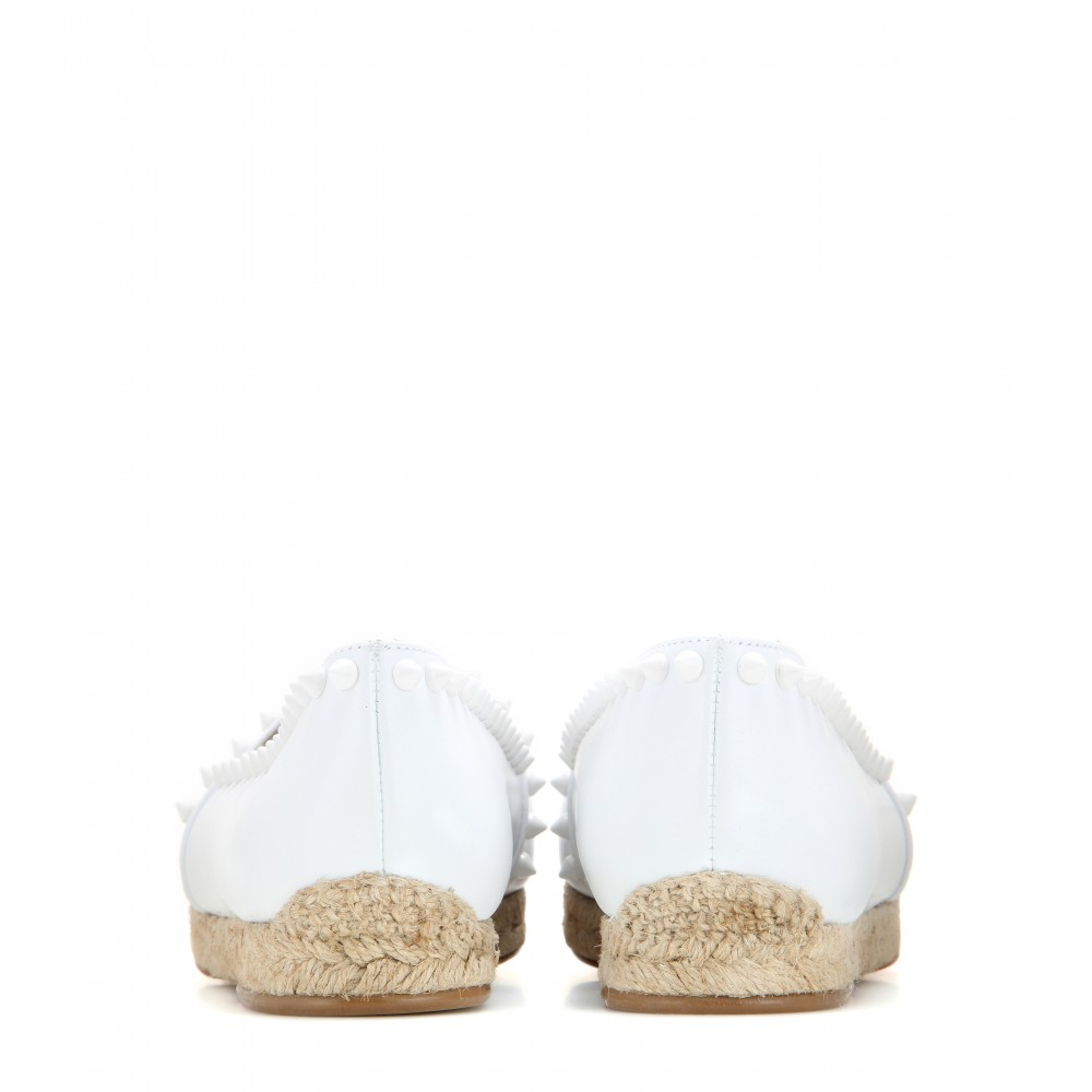 mens black spiked loafers - Christian louboutin Ares Embellished Espadrilles in White | Lyst