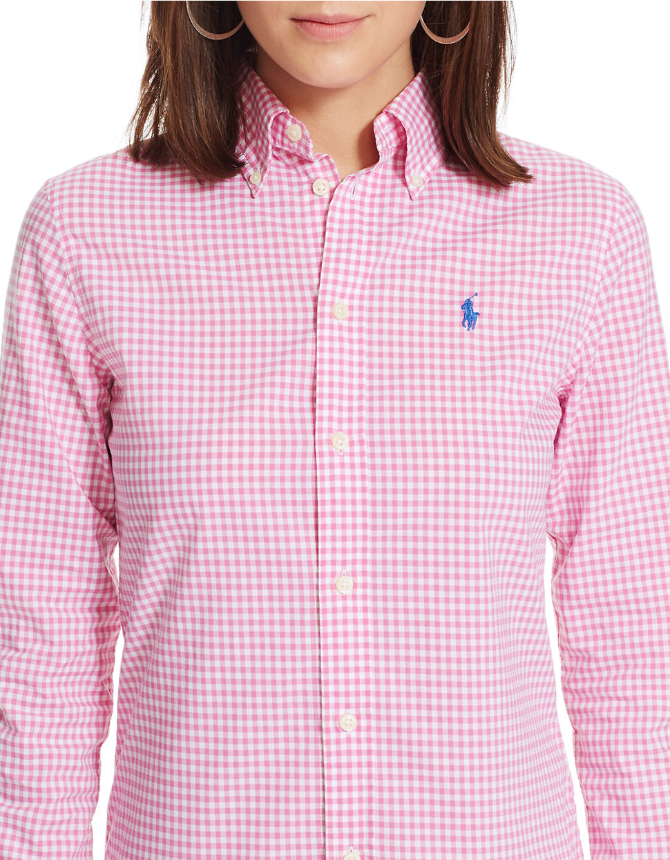 Polo ralph lauren custom fit gingham shirt in pink lyst for Pink gingham shirt ladies