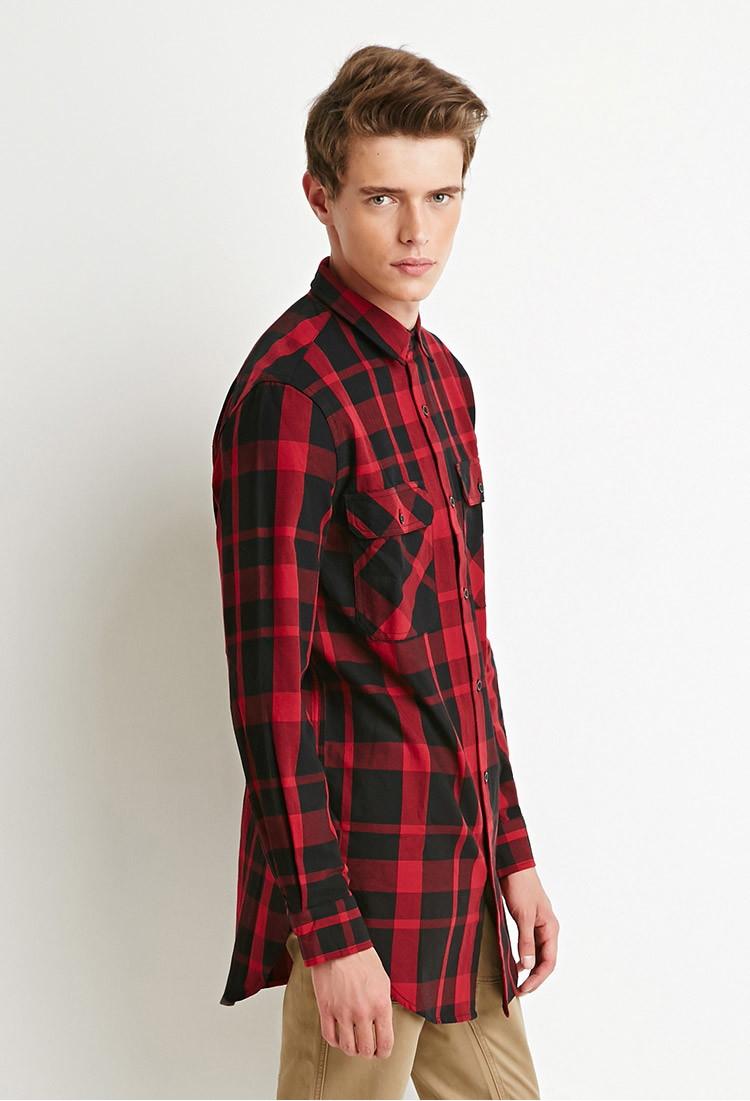 Lyst forever 21 longline plaid shirt in black for men for Black plaid shirt mens