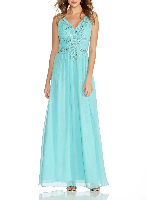 Quiz Aqua V Neck Embroidered Maxi Dress in Blue - Lyst