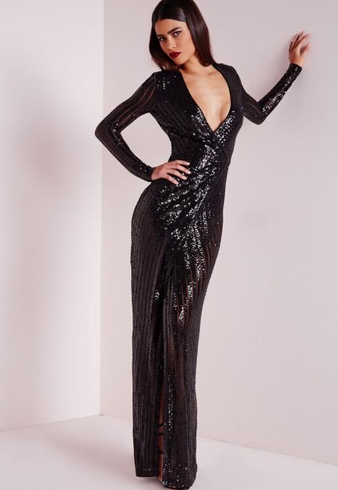 1b4599a4aedc Missguided Premium Sequin Stripe Wrap Maxi Dress Black in Black - Lyst