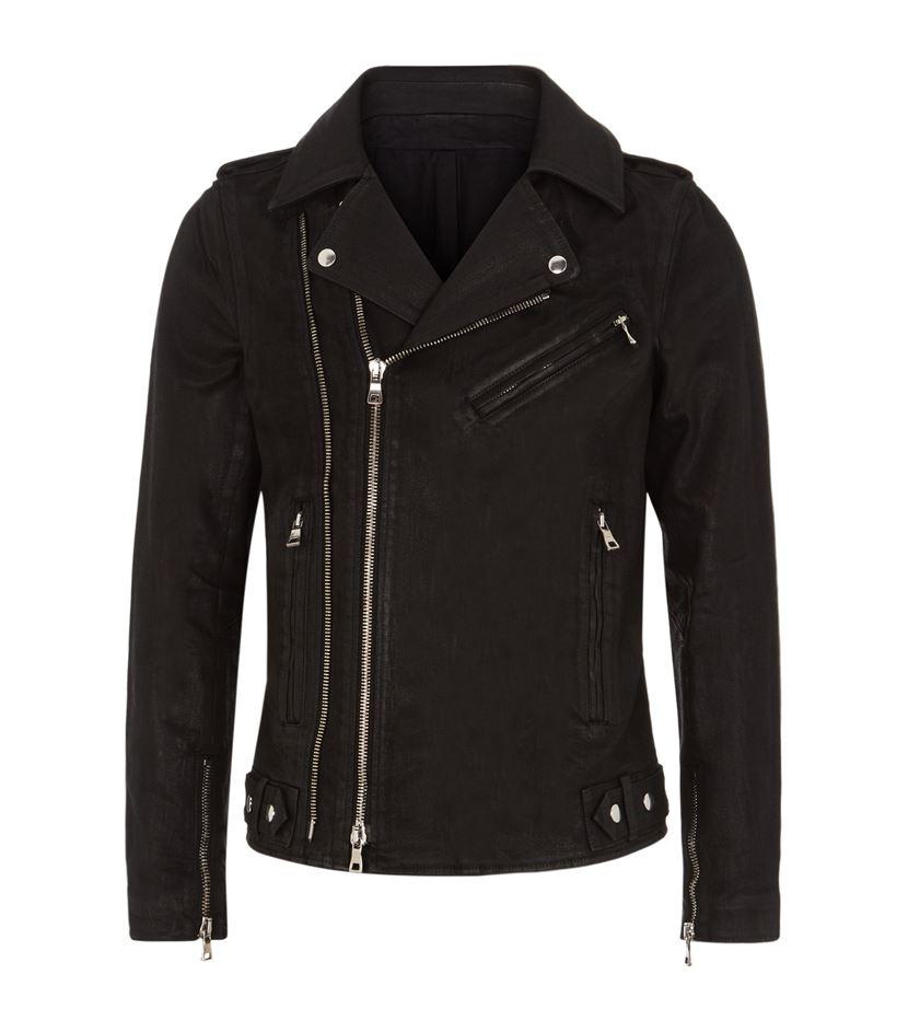 Balmain Waxed Cotton Biker Jacket In Black For Men Lyst