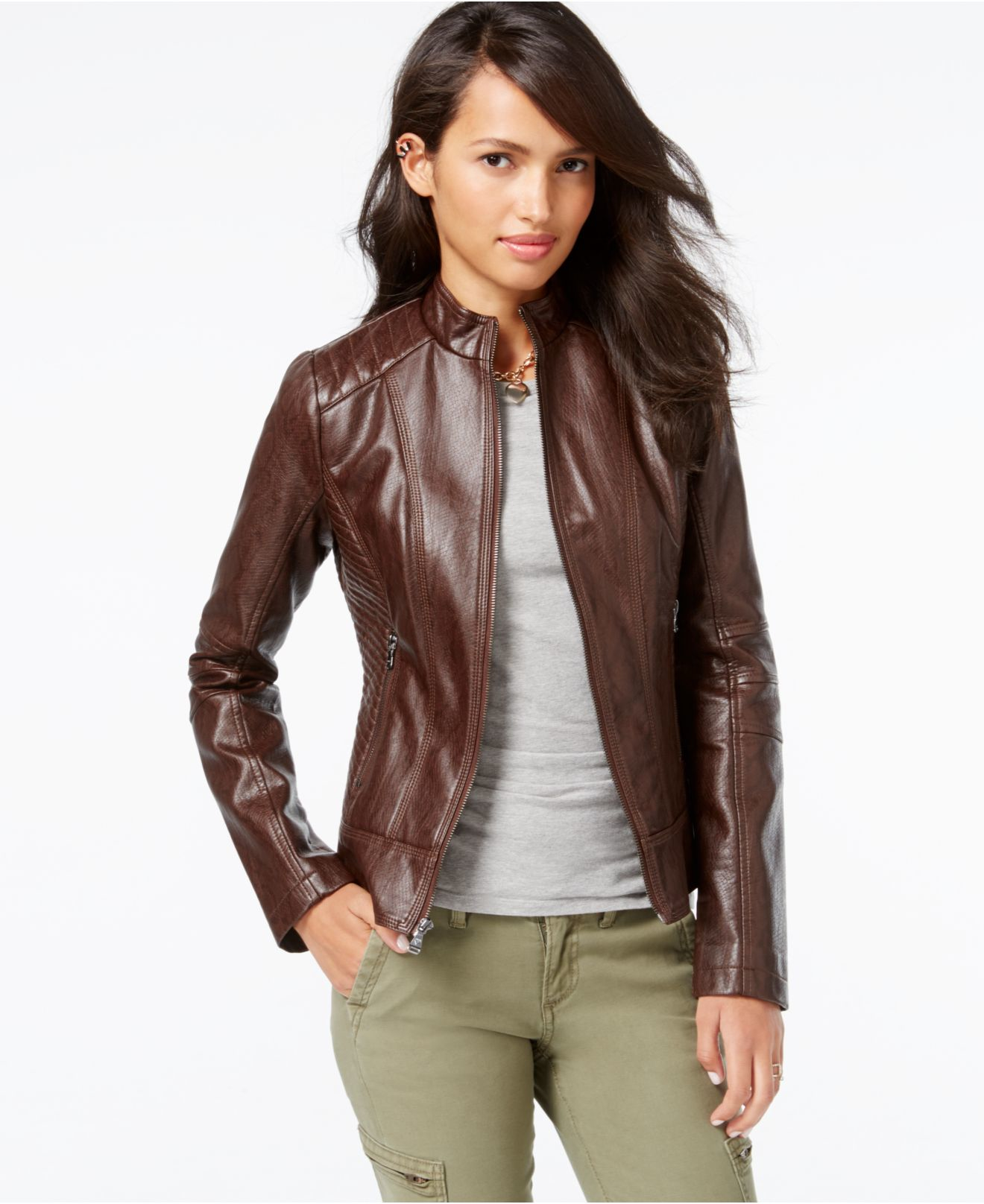 Guess Quilted-detail Faux-leather Moto Jacket in Brown | Lyst