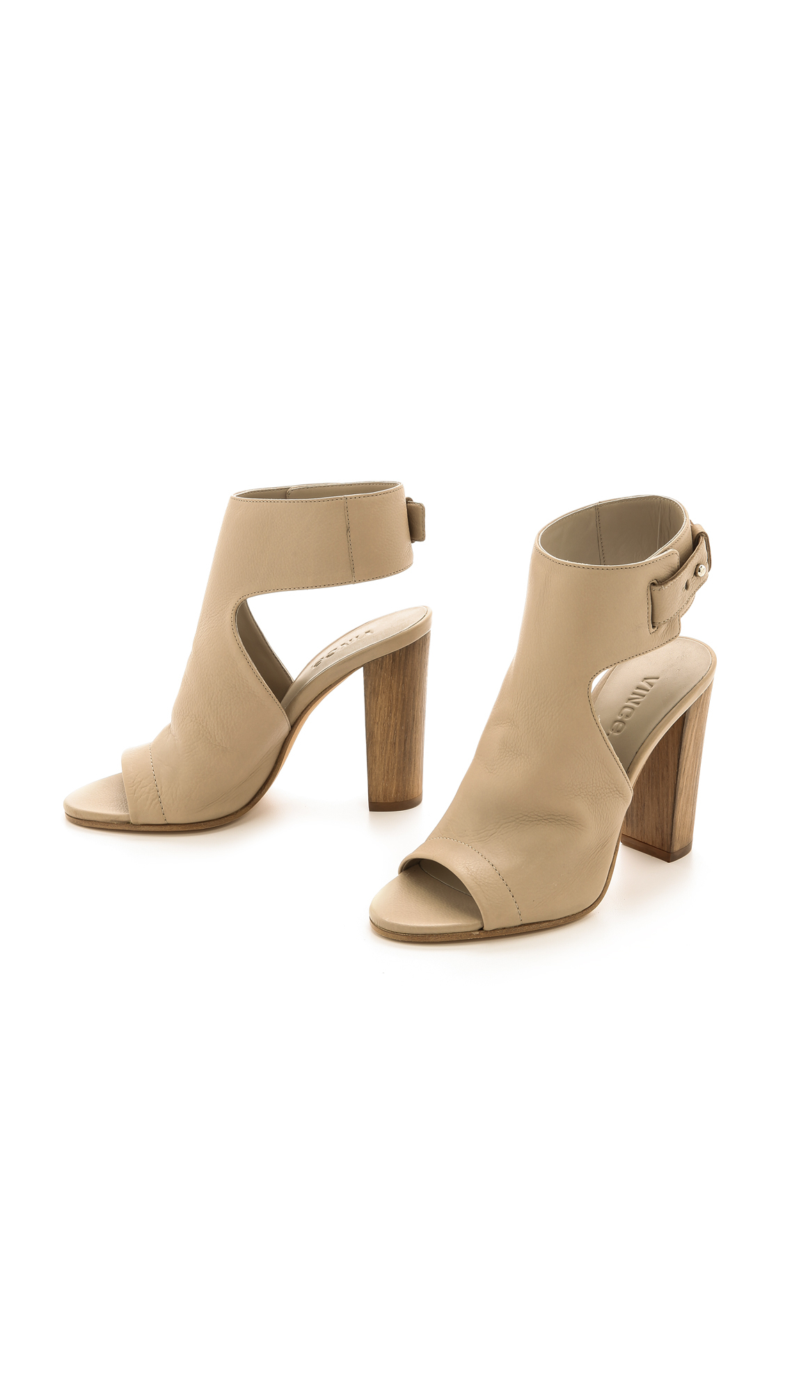 Vince Addie Open Toe Booties in Brown (Taupe)