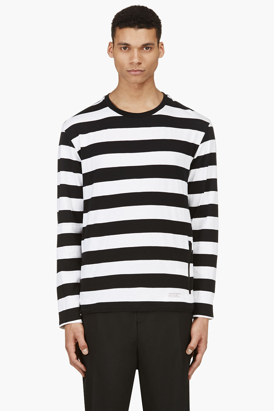 Undercover black and white stripe long sleeve t shirt in Mens long sleeve white t shirt